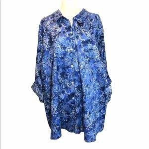Catherine's blue paisley floral button down top 5X